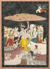 Krishna Lifting Mt. Govardhana