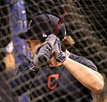 Indians outfielder Tyler Naquin takes batting practice at Wrigley Field. (30009757613).jpg