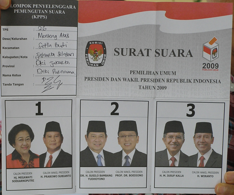 Indonesia2009PresElectBallotPaper