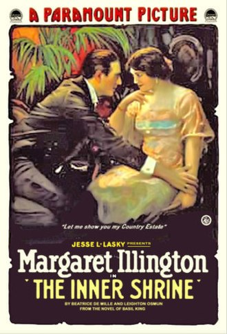 Margaret Illington - Poster for Inner Shrine, one of two 1917 feature films Illington made for Adolph Zukor and Jesse Lasky.
