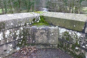 Listed buildings in Burrow-with-Burrow - Image: Inscribed stone; Burrow Bridge