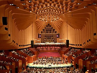 A concert at the Sydney Opera House Interior of Sydney Opera House Concert Hall during performance.jpg