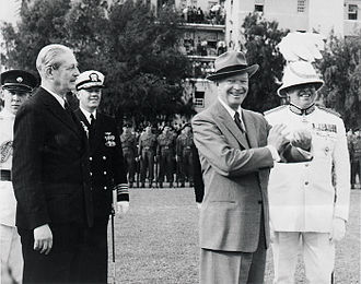 Partial Nuclear Test Ban Treaty - Macmillan (second from left) with Eisenhower in March 1957