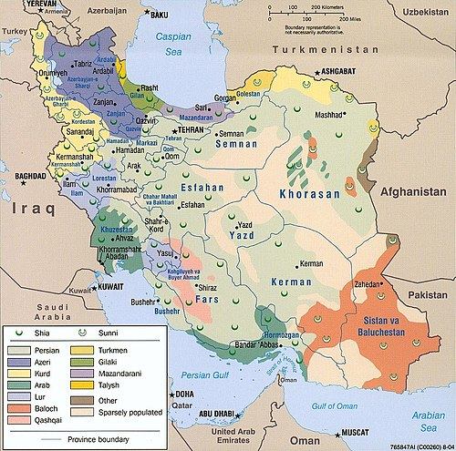 Ethongraphic map of Azerbaijanis in Iran - List of Azerbaijanis