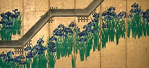 Ogata Kōrin - Image: Irises at Yatsuhashi (right)