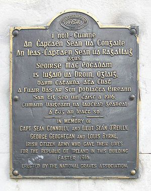 Irish Citizen Army - Plaque in commemoration of The Irish Citizen Army