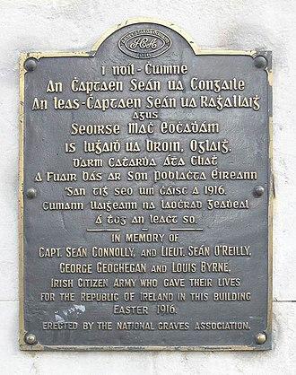 Irish Citizen Army - Plaque in commemoration of The Irish Citizen Army