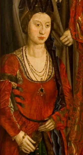 Isabel of Coimbra - Detail of the Saint Vincent Panels masterpiece by Nuno Gonçalves
