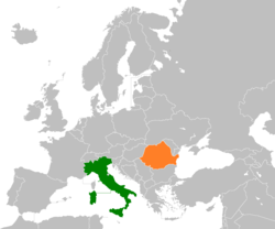 Map indicating locations of Italy and Romania