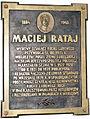 Jabłonowski Palace in Kock - commemorative plaque to Maciej Rataj.jpg