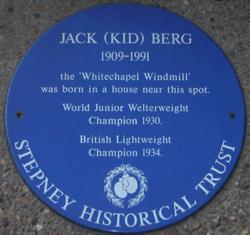 Photo of Jack (Kid) Berg blue plaque