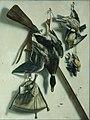 Jacob Biltius - Trompe l'oeil with hunting rifle and mallard plover.jpg