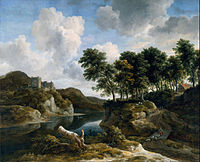 Jacob van Ruisdael - River Landscape with a Castle on a High Cliff - Google Art Project.jpg