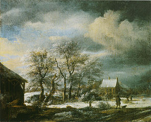 Winter landscape with a snow covered tree group