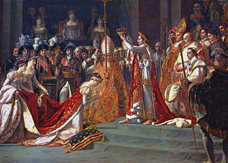 Empress Joséphine - Joséphine kneels before Napoléon during his coronation at Notre Dame. Detail from the oil painting (1806–7) by David and Rouget