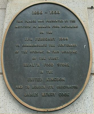 The Pitman Vegetarian Hotel - Plaque to James Henry Cook
