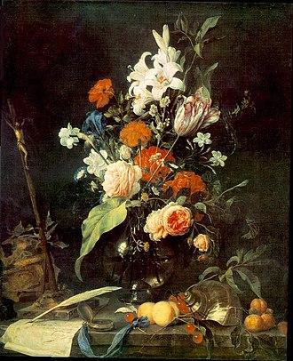 Flower Still life with a watch - Image: Jan Davidsz. de Heem Flower Still life with Crucifix and Skull WGA11259