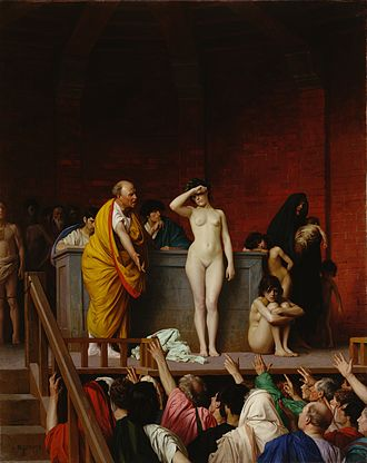Slavery in ancient Rome - Slave Market in Ancient Rome, by Jean-Léon Gérôme