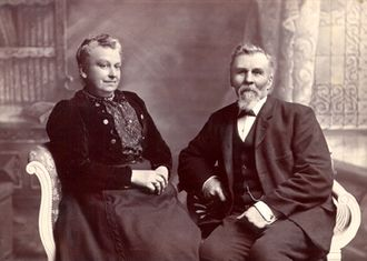 Corbet family - 1880's image of Jean Thomas Corbet and wife taken by Grut photographers, Guernsey Channel Island
