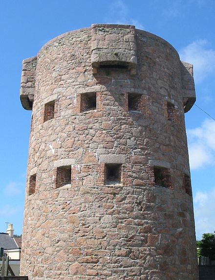 Round towers were built along the coasts to protect the Island from French attack. Jersey round tower.jpg