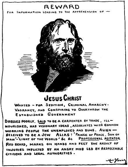 Political cartoon by Art Young, The Masses, 1917. Jesus wanted poster.jpg