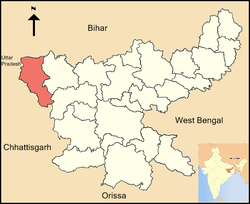 Location of Garhwa district in Jharkhand
