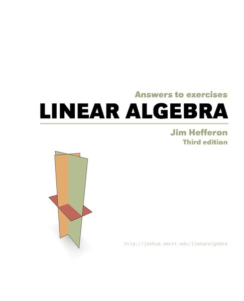 File:Jim Hefferon, Linear algebra, third edition, answers pdf