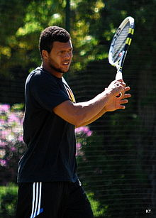 Tsonga practicing his forehand.
