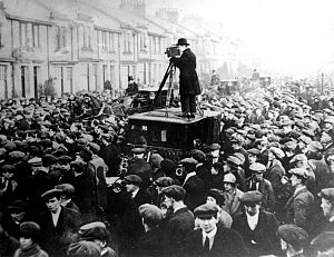 John Maclean (Scottish socialist) - John Maclean's casket being removed from his Pollokshaws home on Auldhouse Road.