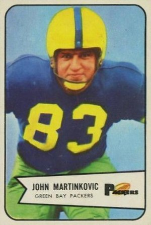 John Martinkovic - Martinkovic on a 1954 Bowman football card