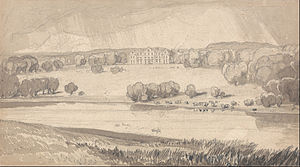 Raynham Hall - The matured 18th-century landscape, drawn by John Sell Cotman, c. 1818.