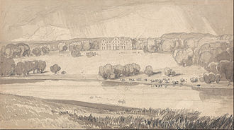 Raynham Hall - The matured 18th-century landscape, drawn by John Sell Cotman, c. 1818.