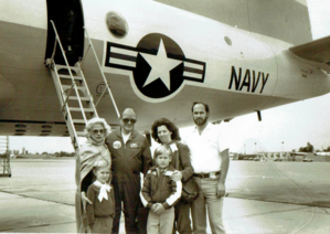 John Christiansen - Christiansen with family in front of P-3 Orion, 1984.