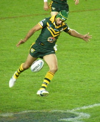 Johnathan Thurston - Thurston playing for Australia in the opening game of the 2008 World Cup against New Zealand. He was named man-of-the-match.