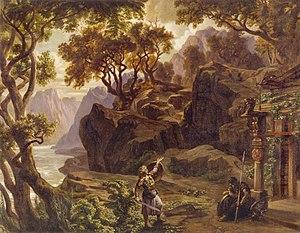 Götterdämmerung - Stage design by Josef Hoffmann for original production in 1876 - Act II, last scene.
