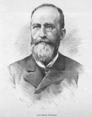 Josef Matyáš Trenkwald - Josef Matyáš Trenkwald. Drawing by Jan Vilímek (1887)