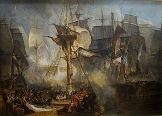 Battle of Trafalgar - The Battle of Trafalgar, as seen from the starboard mizzen shrouds of the Victory. J. M. W. Turner (oil on canvas, 1806–1808)