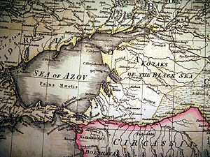 Kuban Cossacks - Historic map, showing the initial settlement of the Black Sea Cossacks