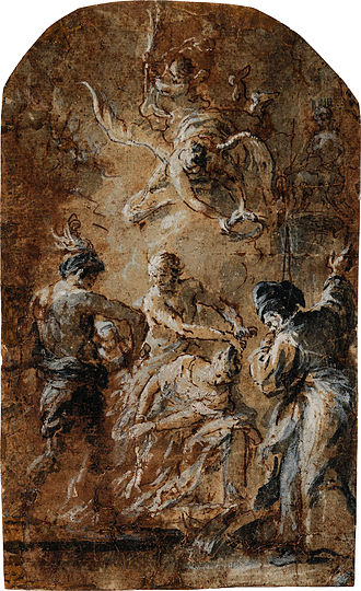 """Martin Johann Schmidt - Characteristic late work in which all detail dissolves in uncountable specks of pigment in a seemingly random way: """"The Beheading of Saint Catherine"""", 1791, study for an altar painting for Brno Cathedral that came not to be executed. Feuchtmüller (1989), catalogue raisonné No. 945"""