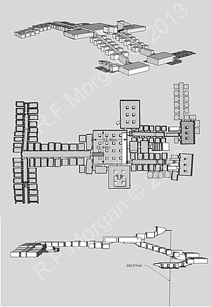 KV5 - Isometric, plan and elevation images of KV5 taken from a 3d model