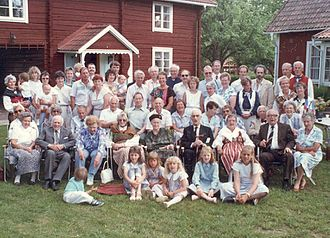Family reunion - 1988 Swedish-American family reunion in Borlänge of people descending from a common ancestor born in 1776