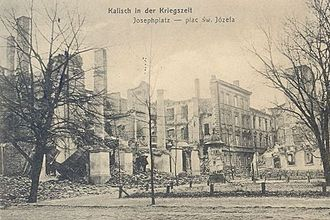 Destruction of Kalisz - Leopold Wiess Palace in Kalisz, destroyed by the Germans in 1914