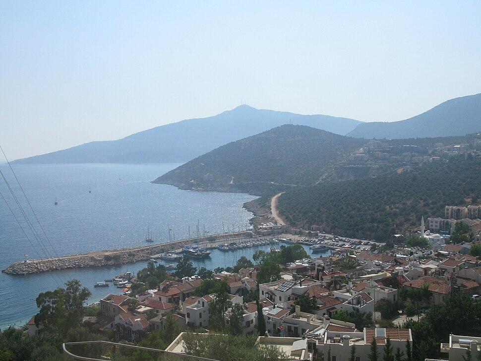 Kalkan habour, view from the main road. Kalkan, Turkey