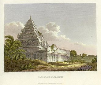 Kanchipuram district - An 1811 engraving of a temple in Kancheepuram