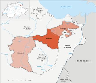 Karte Kanton Appenzell Ausserrhoden Bezirke 2010