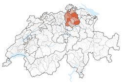 Map of Switzerland, location of Zürich highlighted