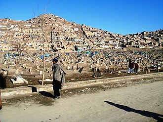 City - Hillside housing and graveyard in Kabul.