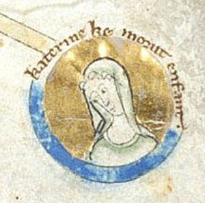 Katherine of England - An image of Katherine in a 14th century illuminated manuscript.