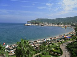 A view of the beach and marina of Kemer