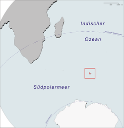 Location of the Kerguelen Islands in the Southern Ocean.